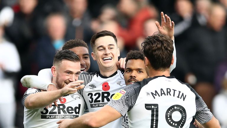 Tom Lawrence scored twice for Derby