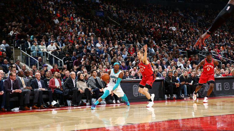 Devonte' Graham of the Charlotte Hornets handles the ball against the Toronto Raptors