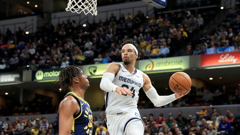 Dillon Brooks #24 of the Memphis Grizzlies passes the ball against the Indiana Pacers at Bankers Life Fieldhouse on November 25, 2019 in Indianapolis, Indiana.