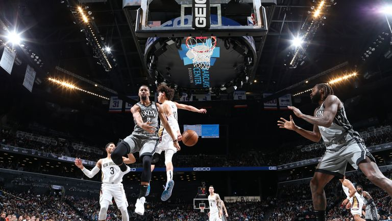 Spencer Dinwiddie of the Brooklyn Nets passes the ball against the New Orleans Pelicans