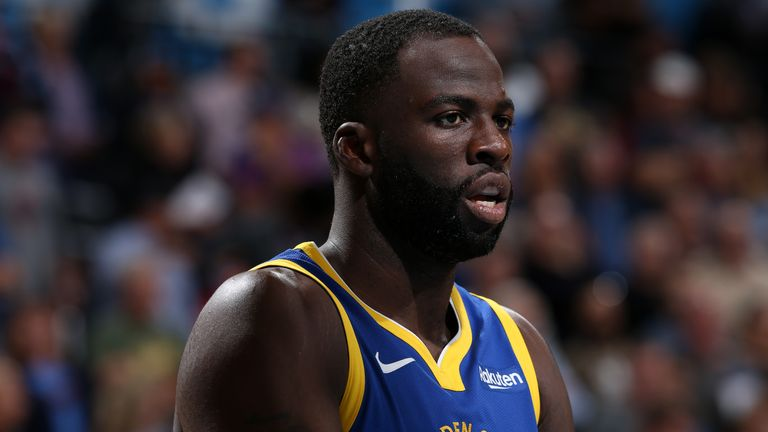 OKLAHOMA CITY, OK - OCTOBER 27: Draymond Green #23 of the Golden State Warriors looks on against the Oklahoma City Thunder on October 27, 2019 at Chesapeake Energy Arena in Oklahoma City, Oklahoma. NOTE TO USER: User expressly acknowledges and agrees that, by downloading and or using this photograph, User is consenting to the terms and conditions of the Getty Images License Agreement. Mandatory Copyright Notice: Copyright 2019 NBAE (Photo by Zach Beeker/NBAE via Getty Images)