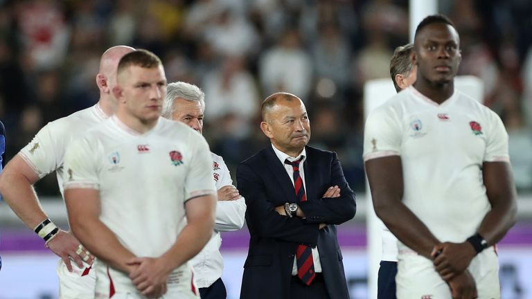 England head coach Eddie Jones and his players look dejected Rugby World Cup 2019 final loss to South Africa