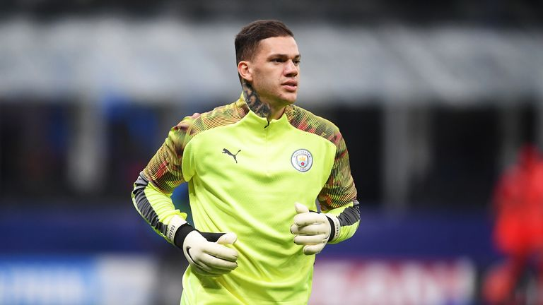 Ederson warms up ahead of the UEFA Champions League group C match between Atalanta and Manchester City