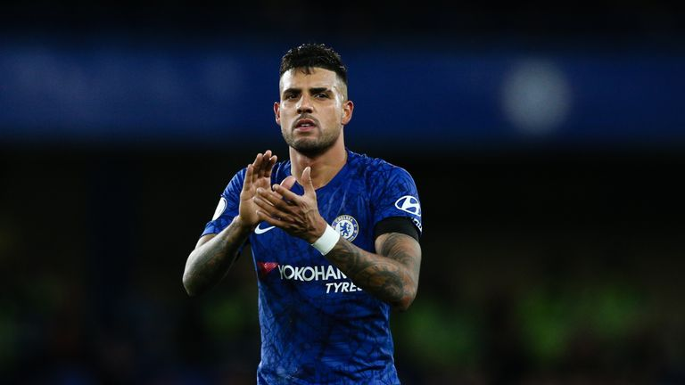 LONDON, ENGLAND - NOVEMBER 30: Emerson Palmieri of Chelsea acknowledges the fans after the Premier League match between Chelsea FC and West Ham United at Stamford Bridge on November 30, 2019 in London, United Kingdom. (Photo by MB Media/Getty Images)
