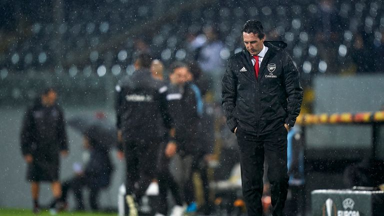 Unai Emery is under pressure after failing to win any of his last four matches in charge of Arsenal