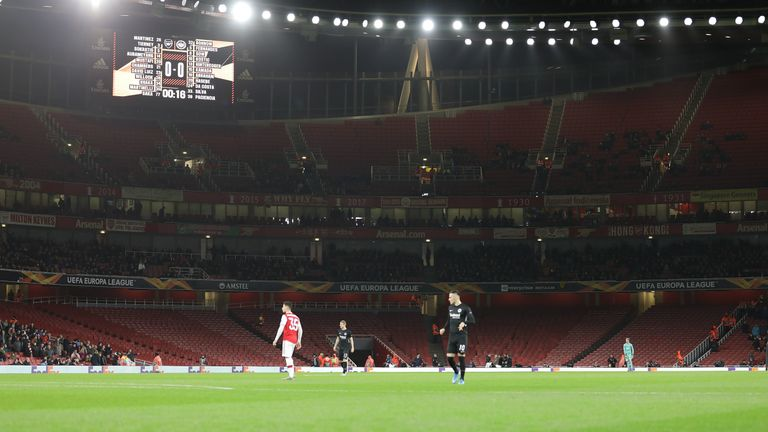 There were plenty of empty seats at the Emirates Stadium on Thursday evening