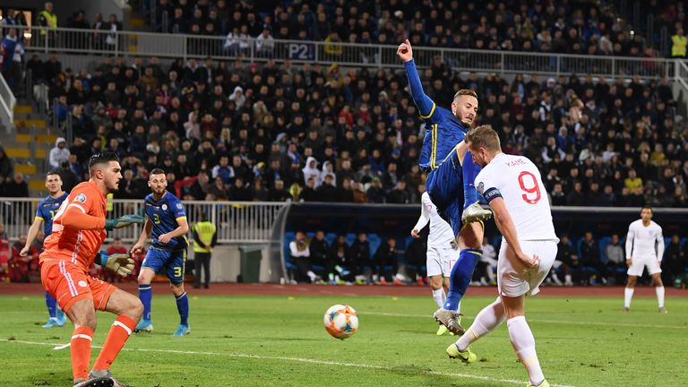 Harry Kane scored his 12th goal of the qualifying campaign at Kosovo