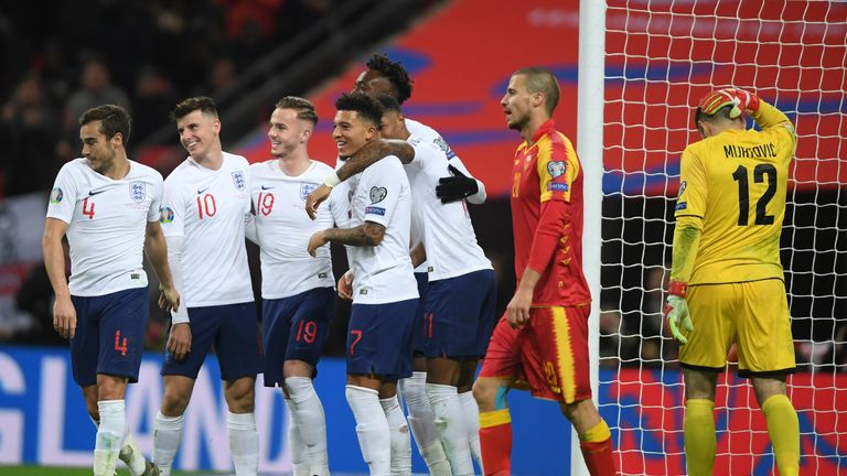 England's line-up against Montenegro was their youngest since 1959