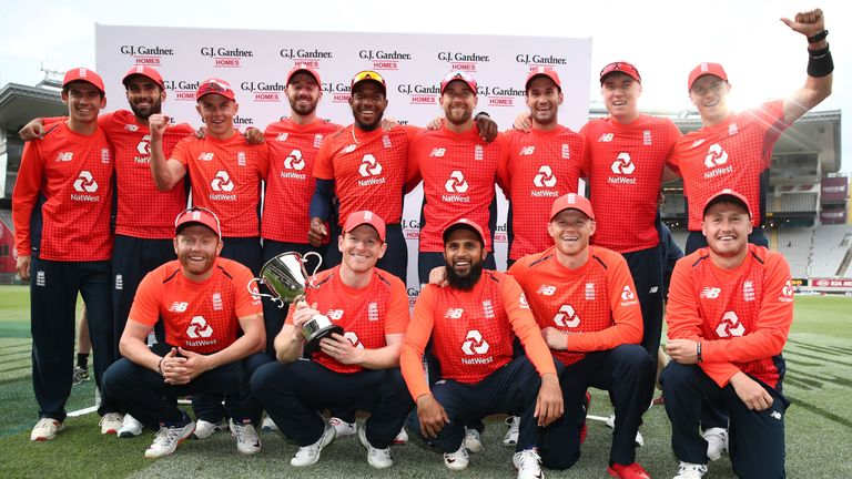 England celebrate with the trophy after their T20 series win over New Zealand