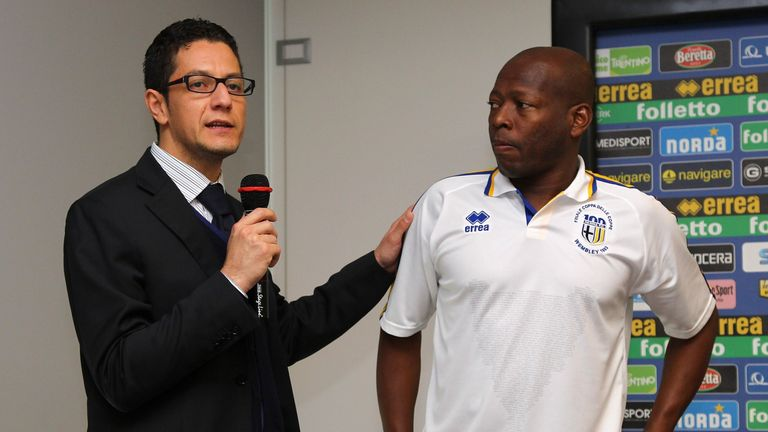 Errea Marketing Executive Marcello Mangora and Faustino Asprilla (R) attend the press conference for the unveiling of the commemorative shirt for the 20th anniversary of Parma's European Cup Winners Cup victory on May 10, 2013 in Collecchio, Italy.