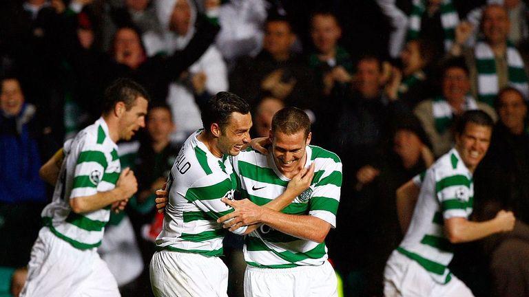 Scott McDonald and Chris Killen celebrate during Celtic's 2-1 win over AC Milan in 2007