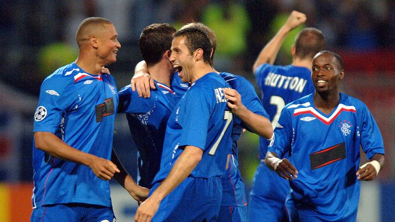 Rangers celebrate winning 3-0 at Lyon in the Champions League in 2007