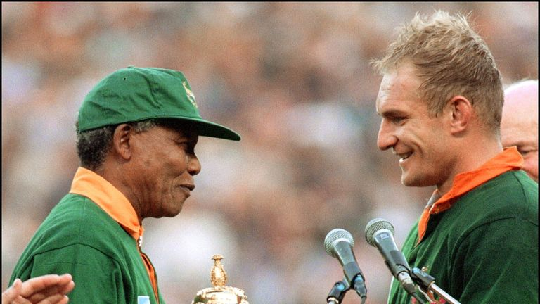 Francois Pienaar was presented with the Webb Ellis Cup by Nelson Mandela in 1995