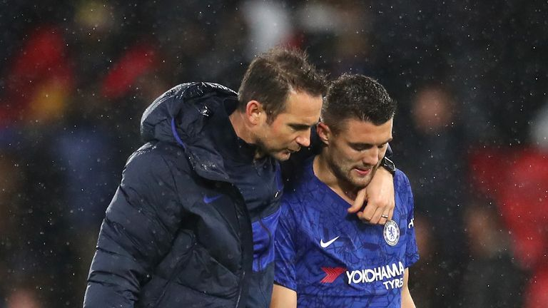 Frank Lampard speaks with Mateo Kovacic after his side's 2-1 win at Watford