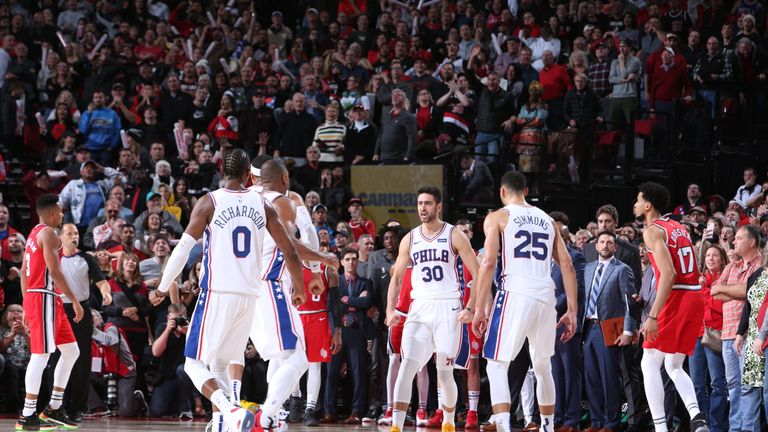 Furkan Korkmaz of the Philadelphia 76ers reacts to his game-winning three against the Portland Trail Blazers