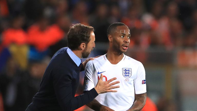 Gareth Southgate speaks to Raheem Sterling during the Nations League Semi-Final in June