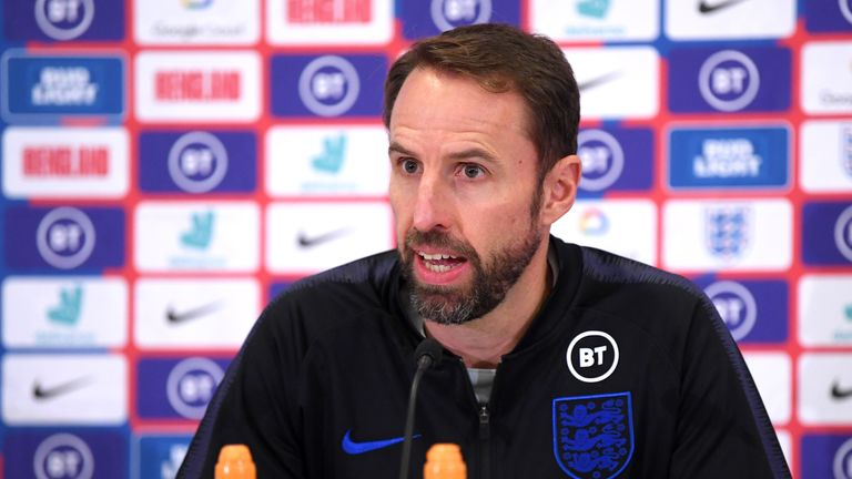 Gareth Southgate addresses the media during a press conference at St George's Park