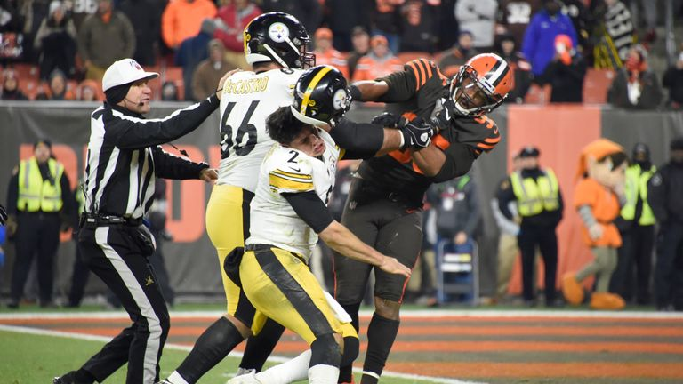 Myles Garrett hits Mason Rudolph with his own helmet as the Cleveland Browns faced the Pittsburgh Steelers.