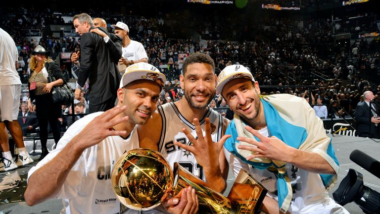 Tony Parker, Tim Duncan and Manu Ginobili celebrate their fourth title together in 2014.