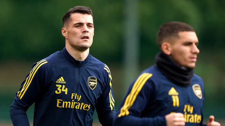 Arsenal's Granit Xhaka and Lucas Torreira during the training session at London Colney