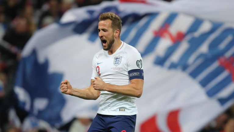 Harry Kane celebrates scoring his hat-trick against Montenegro