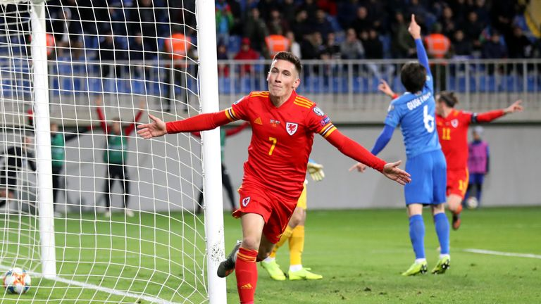 Harry Wilson celebrates scoring his Wales' second goal in Azerbaijan