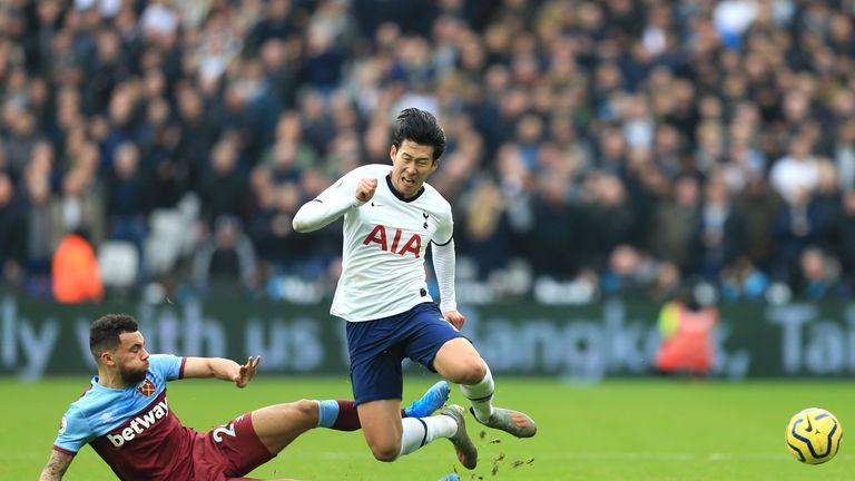 Ryan Fredericks was fortunate not to be sent off for a foul on Heung-Min Son