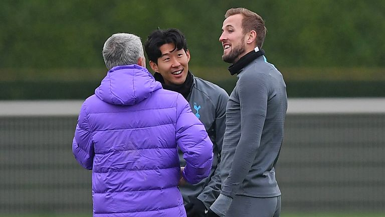 Heung-Min Son and Harry Kane were all smiles with Jose Mourinho in training