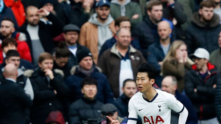 Heung-Min Son celebrates scoring Spurs' first goal
