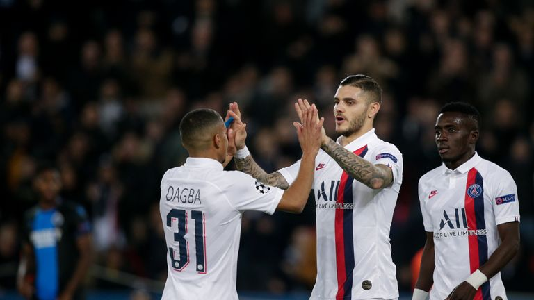 Mauro Icardi celebrates scoring for PSG against Club Brugge
