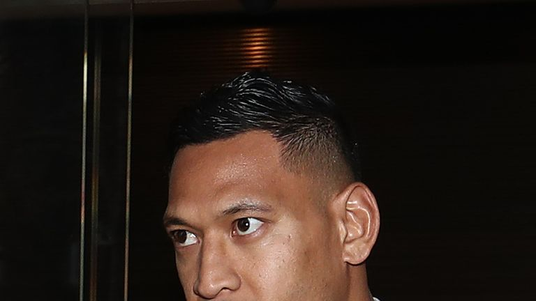 Israel Folau departs his conciliation meeting with Rugby Australia at Fair Work Commission on June 28, 2019 in Sydney, Australia