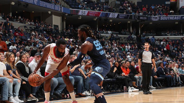 James Harden of the Houston Rockets handles the ball against the Memphis Grizzlies