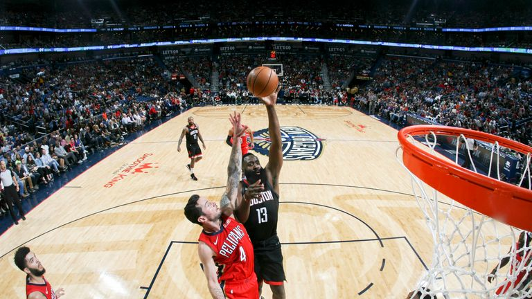 James Harden of the Houston Rockets shoots the ball against the New Orleans Pelicans