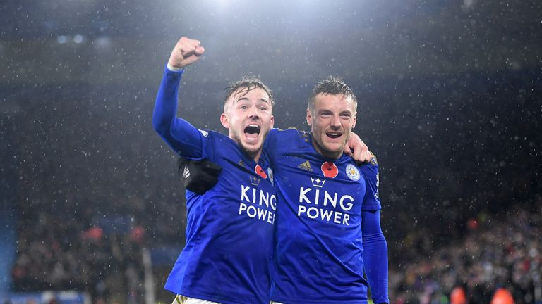 Leicester City's James Maddison celebrates with team-mate Jamie Vardy after scoring his team's second goal