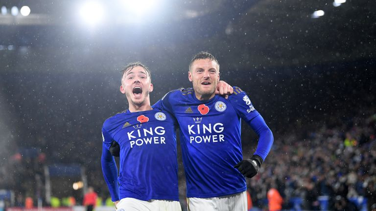 James Maddison celebrates with Jamie Vardy after doubling Leicester's lead
