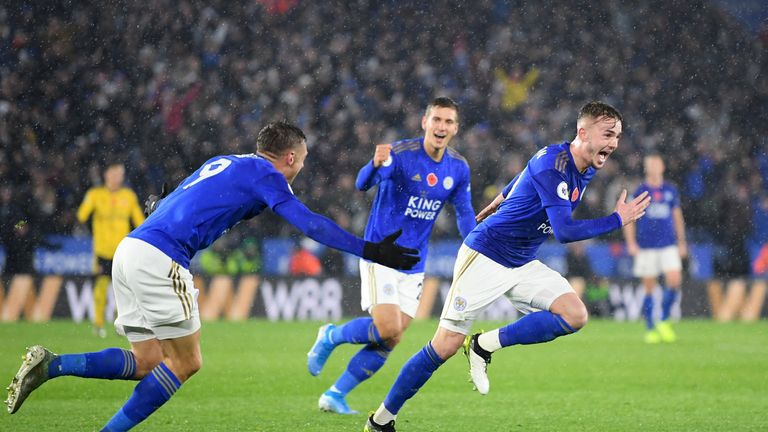 Leicester City's James Maddison celebrates after scoring his team's second goal