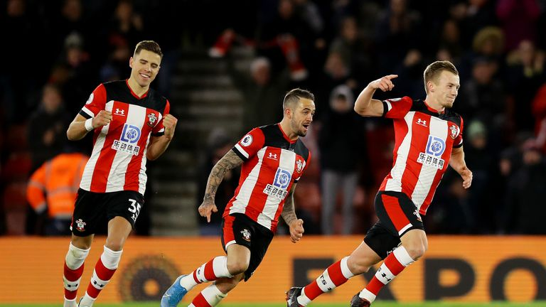 Ward-Prowse wheels away in celebration after his free-kick completed Southampton's turnaround against Watford