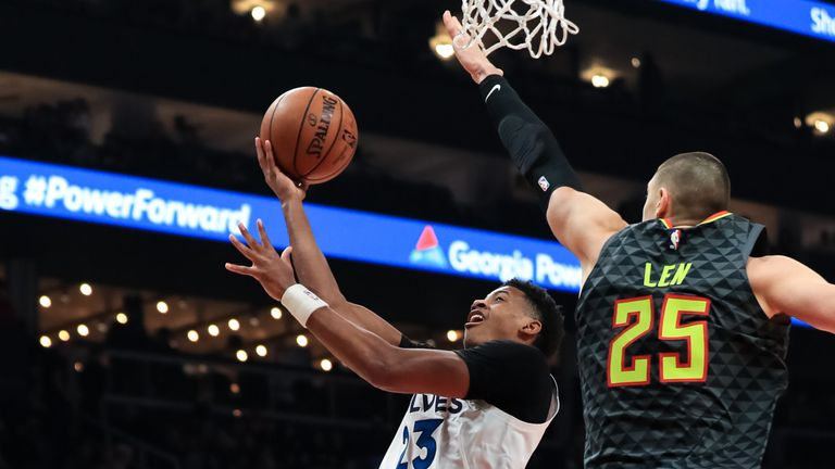 Jarrett Culver #23 of the Minnesota Timberwolves goes up for a layup under defender Alex Len #25 of the Atlanta Hawks during the second quarter of the game at State Farm Arena on November 25, 2019 in Atlanta, Georgia.