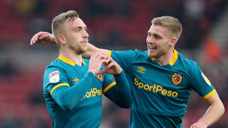 Hull City's Jarrod Bowen celebrates scoring his second goal