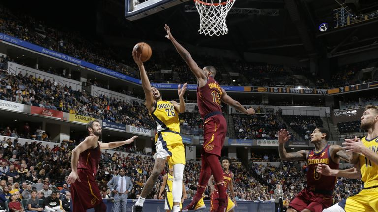 Jeremy Lamb of the Indiana Pacers shoots the ball against Tristan Thompson of the Cleveland Cavaliers