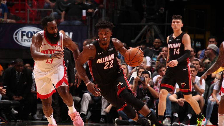 Jimmy Butler of the Miami Heat handles the ball against the Houston Rockets