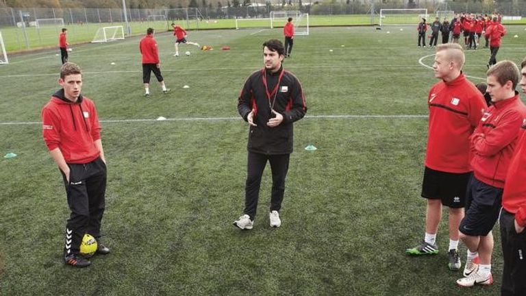 Joao Sacramento leads a coaching session at the University of South Wales