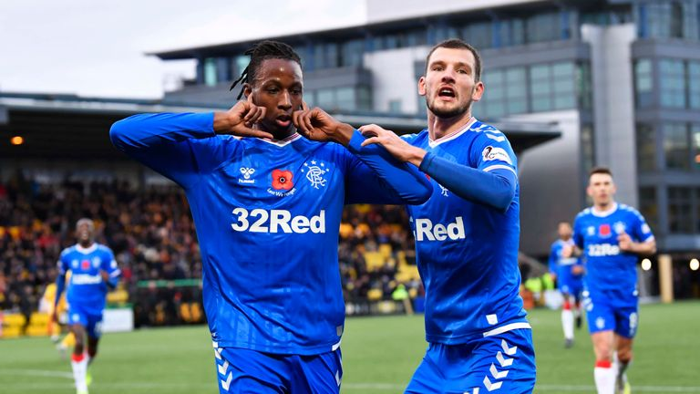 Joe Aribo celebrates Rangers' opener at the Tony Macaroni Arena
