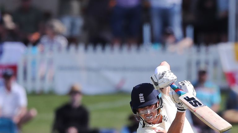 England's Joe Denly drives on day one of the first Test against New Zealand