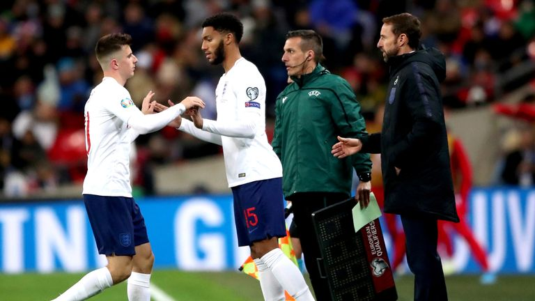 England's Mason Mount is substituted for team-mate Joe Gomez in the second-half