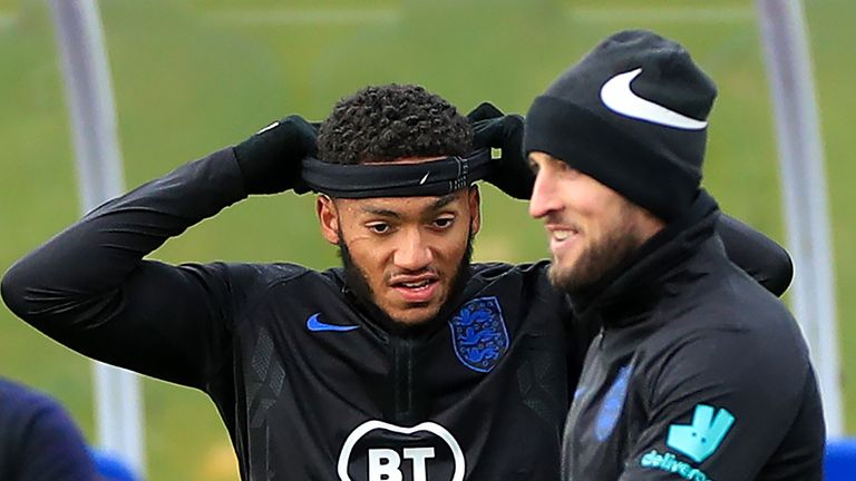 Joe Gomez pictured during England training with a large scratch underneath his right eye