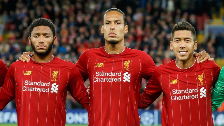 Virgil van Dijk and Joe Gomez ahead of a Liverpool Champions League tie