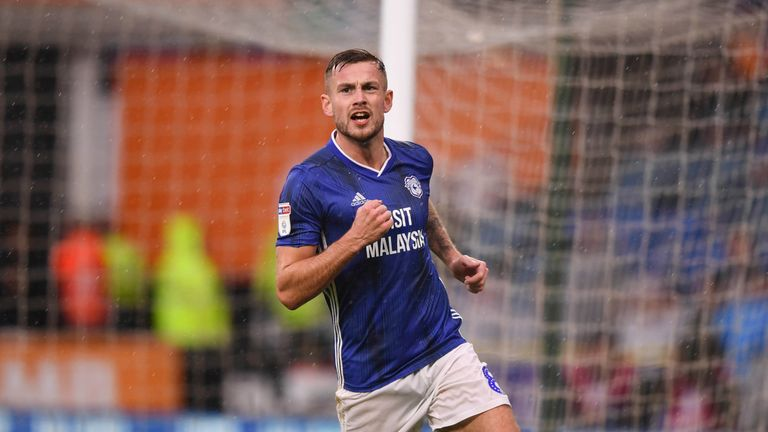 CARDIFF, WALES - NOVEMBER 02: Joe Ralls scores for Cardiff City during the Sky Bet Championship match between Cardiff City and Birmingham City at Cardiff City Stadium on November 2, 2019 in Cardiff, Wales. (Photo by Cardiff City FC/Getty Images)