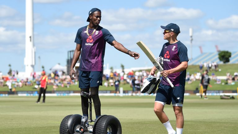 England's Jofra Archer on a Segway ahead of the first Test against New Zealand