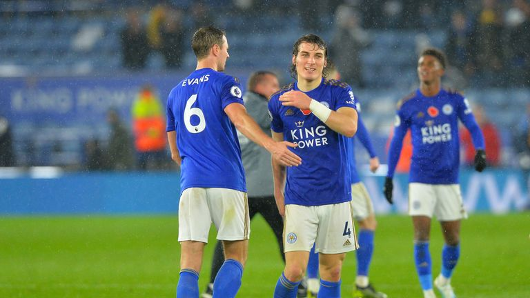 Jonny Evans and Caglar Soyuncu after Leicester's win over Arsenal at the King Power Stadium